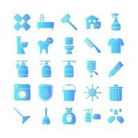 Cleaning icon set vector gradient for website mobile app presentation social media Suitable for user interface and user experience
