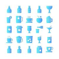 Beverage icon set vector gradient for website mobile app presentation social media Suitable for user interface and user experience