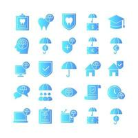 Insurance icon set vector gradient for website mobile app presentation social media Suitable for user interface and user experience