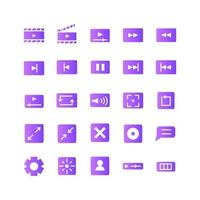 Video Player icon set vector gradient for website mobile app presentation social media Suitable for user interface and user experience