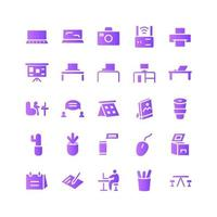 Working Space icon set vector gradient for website mobile app presentation social media Suitable for user interface and user experience