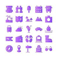 Travel icon set vector gradient for website mobile app presentation social media Suitable for user interface and user experience