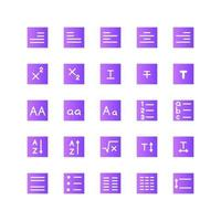 Text Editor icon set vector gradient for website mobile app presentation social media Suitable for user interface and user experience