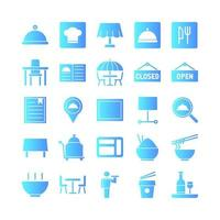 Restaurant icon set vector gradient for website mobile app presentation social media Suitable for user interface and user experience