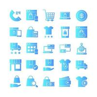 Ecommerce icon set vector gradient for website mobile app presentation social media Suitable for user interface and user experience