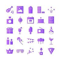 Party icon set vector gradient for website mobile app presentation social media Suitable for user interface and user experience