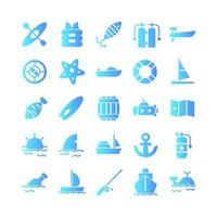 Nautical icon set vector gradient for website mobile app presentation social media Suitable for user interface and user experience