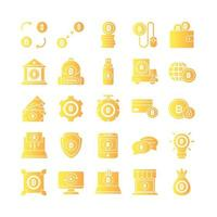 Cryptocurrency icon set vector gradient for website mobile app presentation social media Suitable for user interface and user experience