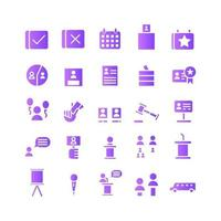 Politic icon set vector gradient for website mobile app presentation social media Suitable for user interface and user experience