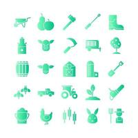 Farm icon set vector gradient for website mobile app presentation social media Suitable for user interface and user experience