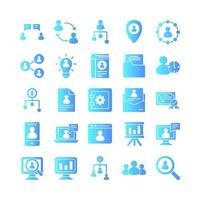 Human Resource icon set vector gradient for website mobile app presentation social media Suitable for user interface and user experience