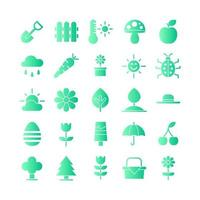 Spring icon set vector gradient for website mobile app presentation social media Suitable for user interface and user experience