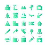 Adventure icon set vector gradient for website mobile app presentation social media Suitable for user interface and user experience