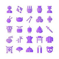 Chinese icon set vector gradient for website mobile app presentation social media Suitable for user interface and user experience
