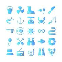 Fishing icon set vector gradient for website mobile app presentation social media Suitable for user interface and user experience