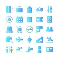 Airport icon set vector gradient for website mobile app presentation social media Suitable for user interface and user experience