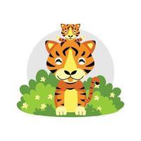 Cute cartoon Tiger mom and baby vector