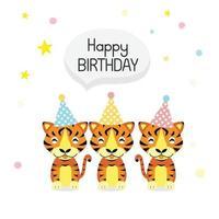 Happy birthday card with cute Tiger cartoon vector