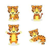 Set of cute tiger cartoon character vector