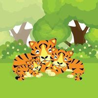 Cute tiger cartoon family in the jungle vector
