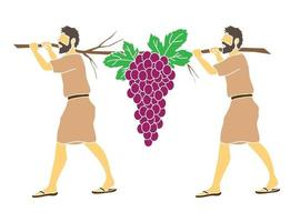 Cartoon Two Spies of Israel Carrying Grapes of Canaan vector