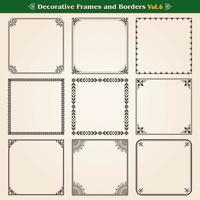 Decorative frames and borders set 6 vector