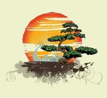 vector vintage t shirt design with tree