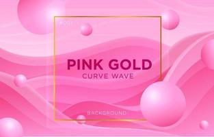 Elegant Pink Gold Frame Curve Wave vector