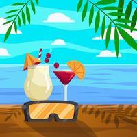 bebida fresca para la celebración del verano. vector