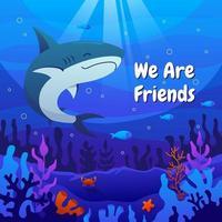 Shark Swimming in Beautiful Ocean vector