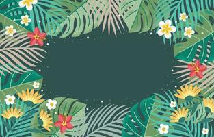 fondo de hojas y flores tropicales de verano vector
