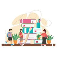 Kids Back to School With Health Protocol vector