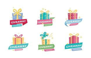 Colorful Giveaway Gift Box Badge vector