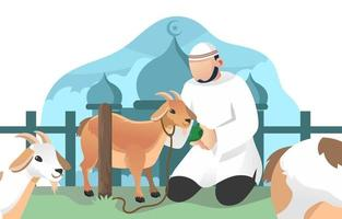 Muslim And Goat in Eid Adha Celebration vector