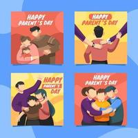 Lovely Small Family Cards For Parents Day vector