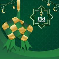 Celebrating Eid With Ketupat Background vector