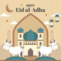 Two Happy Sheep at the Front of Mosque vector
