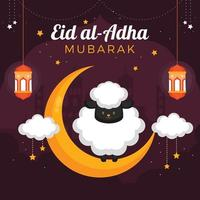 A Sheep Standing on a Crescent Moon Adha vector