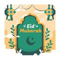 Eid Mubarak Ketupat Concept vector