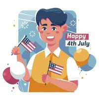 Young American Celebrating 4th of July vector