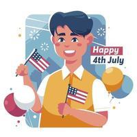 joven americano celebrando el 4 de julio vector
