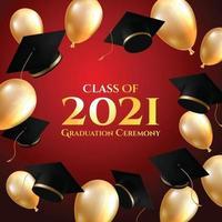 fondo de graduación con gorras y globos vector
