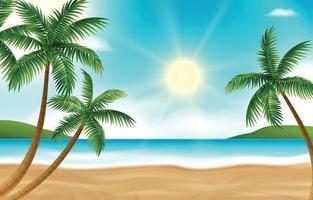 Fondo de paisaje de playa de verano realista con palmeras vector