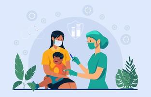 Kids Getting Vaccinated vector