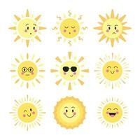 Sun Emoji Expressions vector