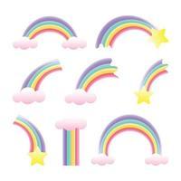 Pastel Rainbow Icon Set vector