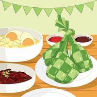 Dishes on Eid El Fitr and Eid Qurban vector