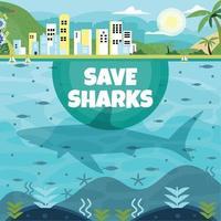 campaña salva tiburones vector