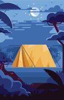 acampando en el bosque por la noche vector