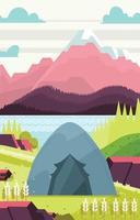 Camping de luz diurna con fondo de vista a la montaña vector